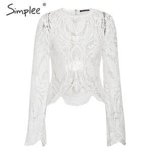 Image 5 - Simplee 섹시한 속이 빈 레이스 자수 여성 블라우스 셔츠 우아한 플레어 슬리브 여성 파티 셔츠 투명 숙녀 탑 셔츠
