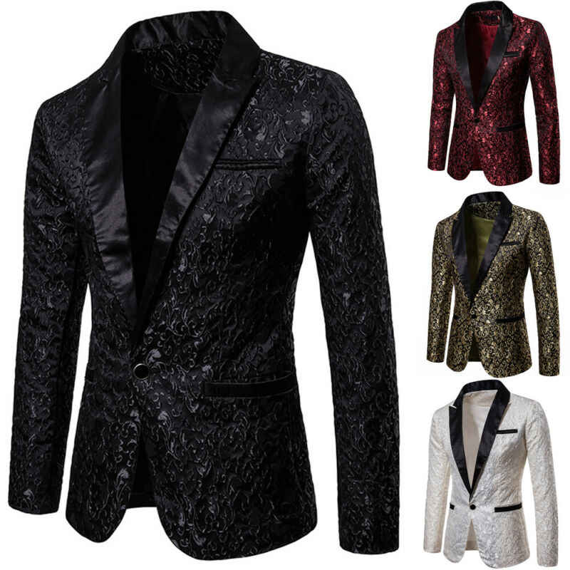 New fashion 2020 men's suit jackets gold jacquard fabric jacket with luxury lapel for stage party tight dress for wedding coat