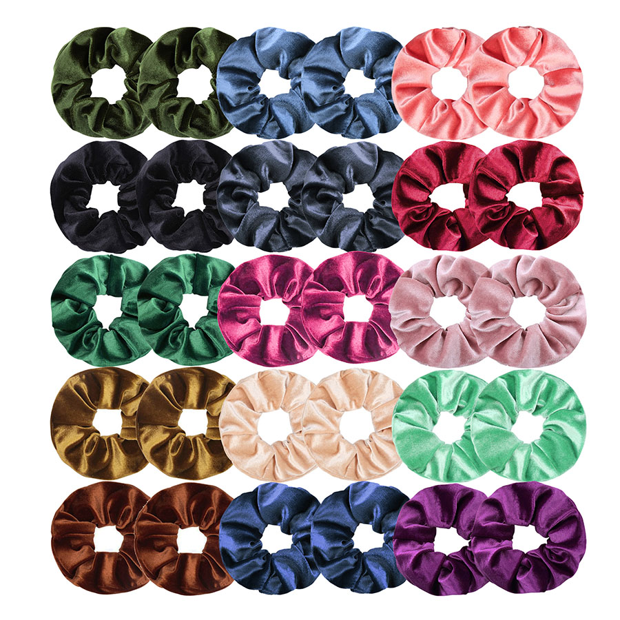 30 Pcs/lot Velvet Scrunchies Pack For Women Elastic Hair Bands Girls Scrunchies Set Headwear Hair Ties Accessories 2019 VERVAE