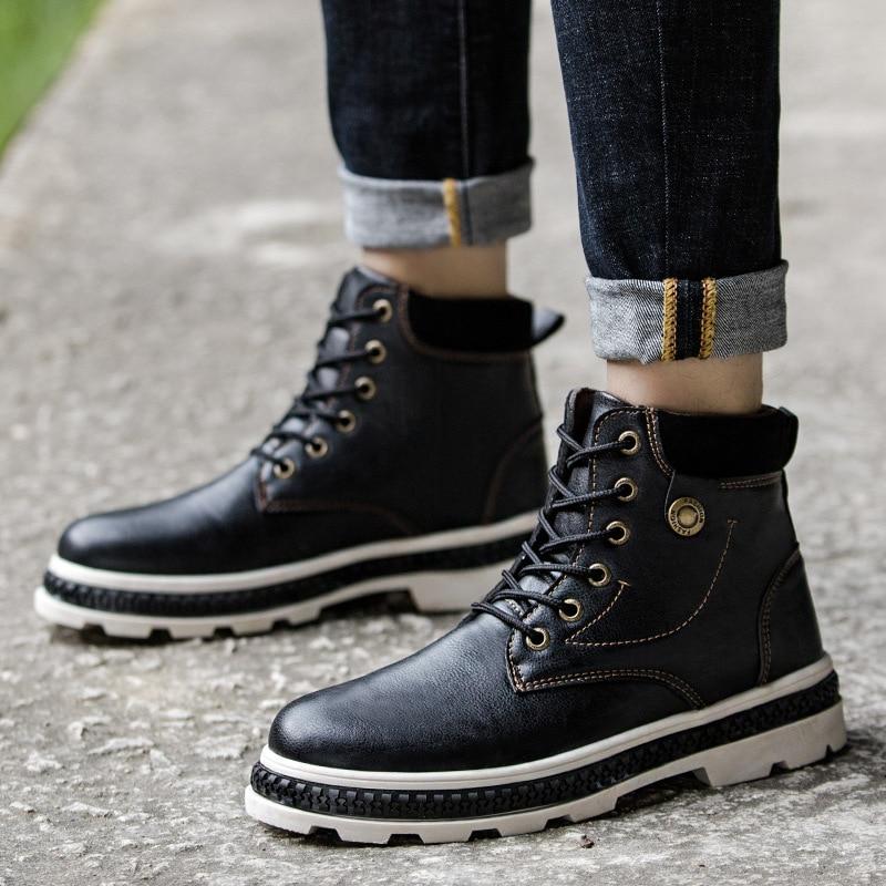 Men Boots Leather Spring Autumn Vintage Style Ankle Boots Men Lace Up Footwear Fashion Casual Shoes Men Botas Hombre