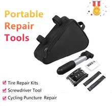 Portable Bicycle Repair Tools Pump 16-in-1 Multi Tool Screwdriver Tire Kits Cycling Puncture Bike Bag