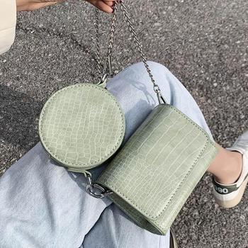 2 Bag Crocodile Pattern Square Crossbody Bag 2020 New High Quality Leather Women's Designer Handbag Chain Shoulder Messenger Bag