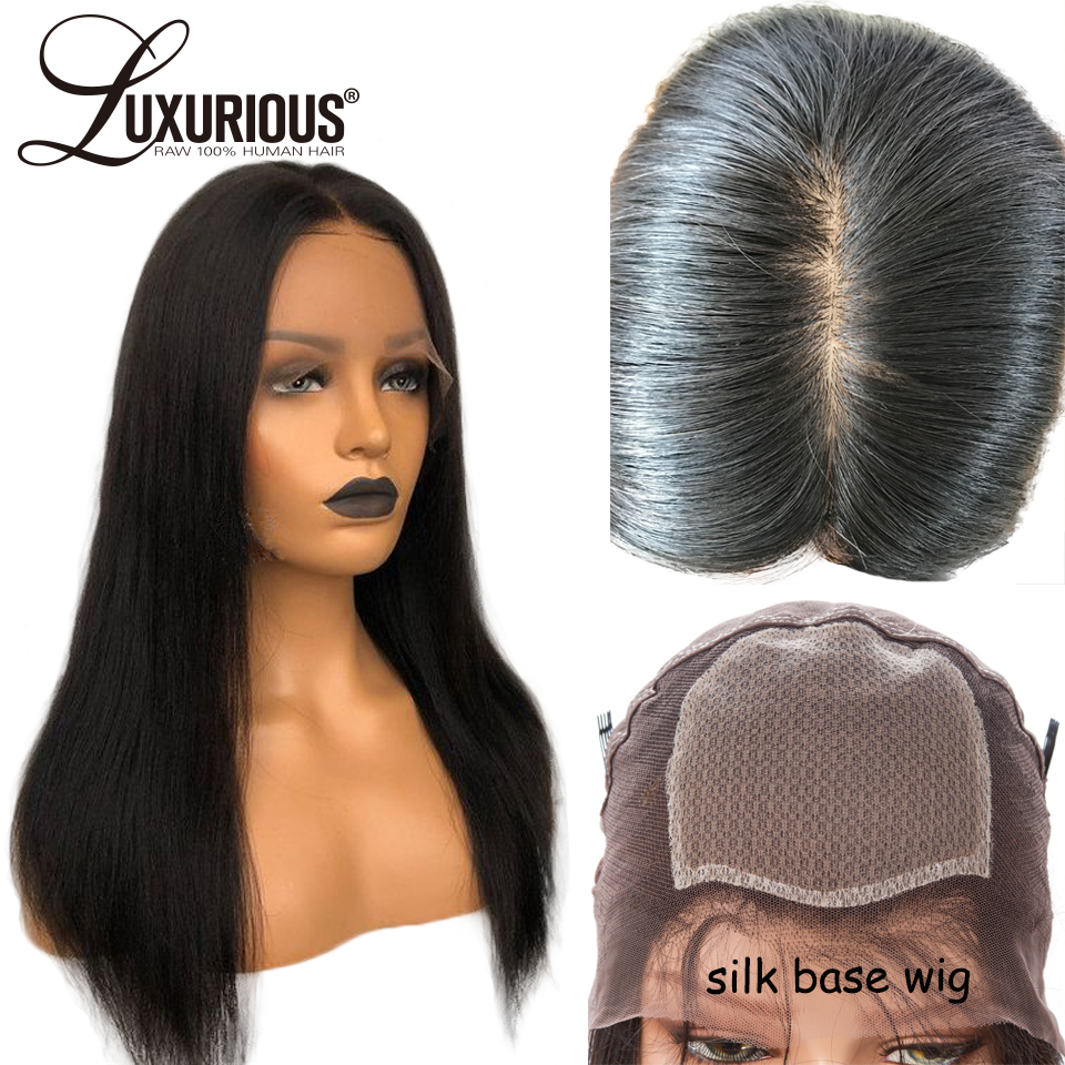 150% Density 4X4 Silk Base Full Lace Human Hair Wigs With Baby Hair Pre Plucked Straight Brazilian Remy Human Hair Wig Silk Top