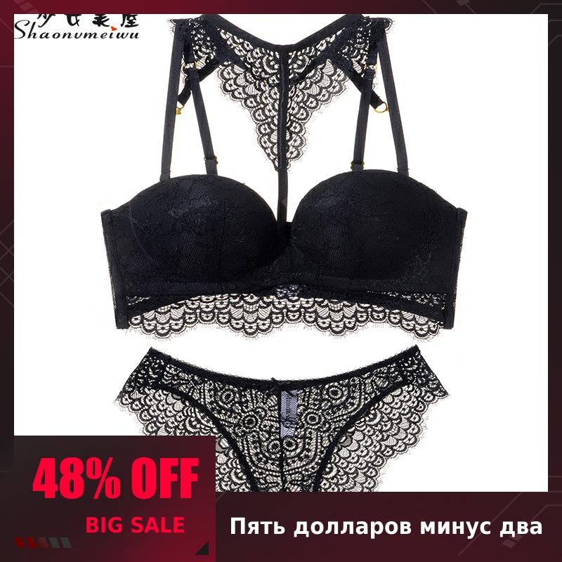 Shaonvmeiwu Lace Back Gather Underwear French Sexy Bra Set Thin Under Thick Gather Adjustment On The Top