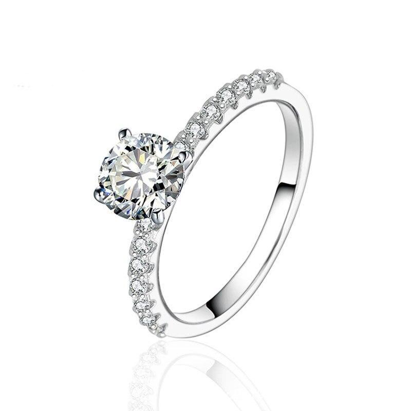 0,5 карат Белый CZ Настоящее серебро 925 пробы Seliver обручальное кольцо для женщин подарок