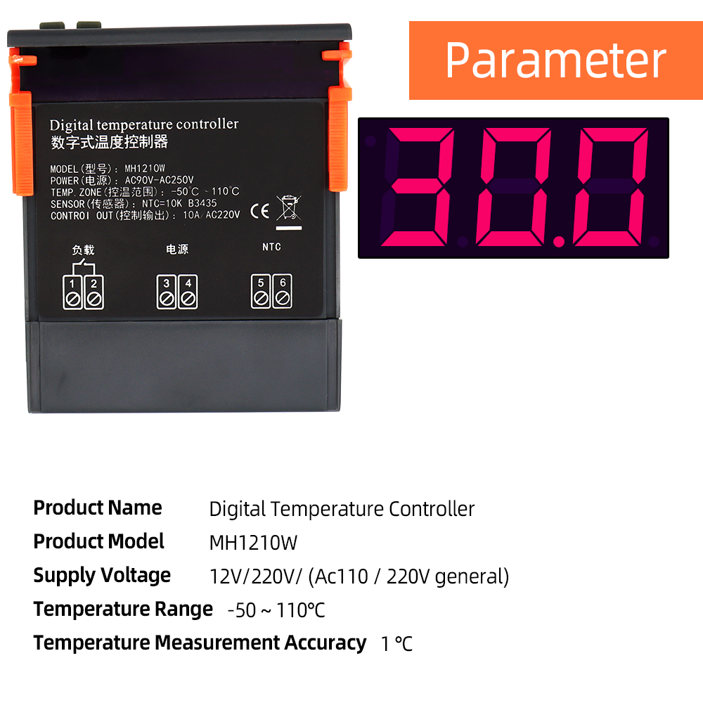 MH1210W Thermostat Digital Suhu Controller Switch Meter Thermoscope untuk Inkubator Kotak NTC Sensor 40% Off