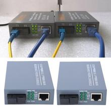 1 Pair HTB-GS-03AB Optical Fiber Media Converter Gigabit Fiber Transceivers + Single Mode Single Core Optical Converter US Plug цена