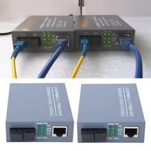 1 Pair HTB-GS-03AB Optical Fiber Media Converter Gigabit Transceivers + Single Mode Core US Plug