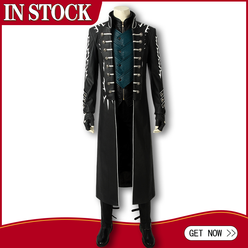 In Stock DMC 5 Vergil Aged Cosplay Costume Leather Jacket Adult Men Halloween Carnival Long Coat Pants Prop Outfit Custom Made