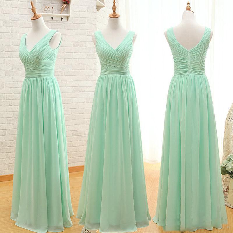 Mint Green Long Chiffon Bridesmaid Dress 2020 A Line Pleated Beach Bridesmaid Dresses Maid Of Honor Wedding Guest Gowns Cheap