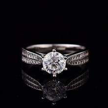 Geoki 통과 다이아몬드 테스트 Moissanite 925 스털링 실버 스타 스타 라이트 퀸 링 라운드 완벽한 컷 웨딩 보석 반지 여성을위한