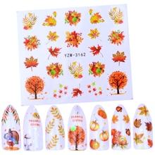 1 лист, переводная наклейка для дизайна ногтей, осенняя Тема, Слайдеры для ногтей, декоративные наклейки, кленовый лист, наклейки для дизайна ногтей, аксессуары для тату