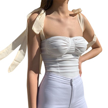 Top Women Fashion Camisole Summer Female Solid Color Strapless Halter Sleeveless Clothes Strap Streetwear Gothic