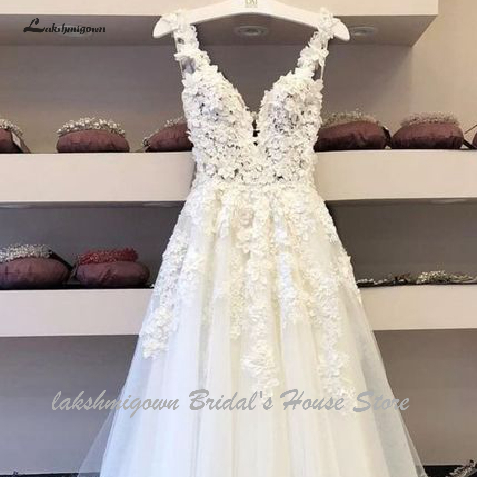 Top SaleLakshmigown Vintage Lace Boho Wedding Dress 2020 Vestidos de Boda Deep V Neck Sexy Bridal Dresses Sleeveless Open Back Floor