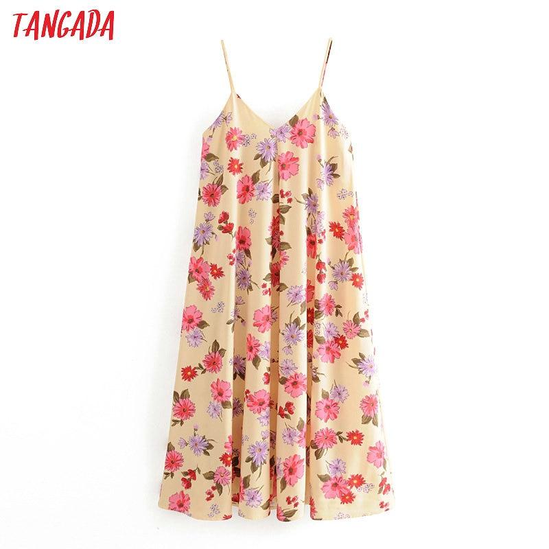 Tangada Fashion Women Flowers Print Maxi Dress Strap Adjust Sleeveless Ladies Vintage Tank Dress Vestidos 3H383