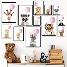 Balloon Rabbit Elephant Giraffe Lion Tiger Nursery Wall Art Print Canvas Painting Nordic Poster Wall Pictures Baby Room Decor