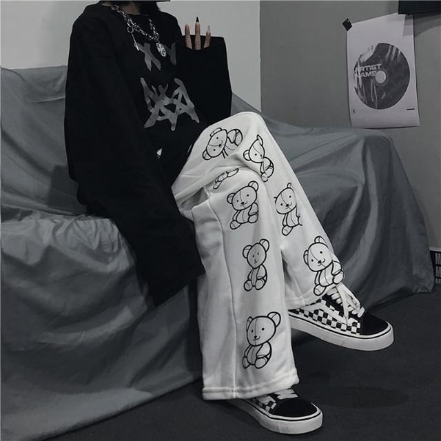 HOUZHOU Korean Style Wide Leg Pants Cartoon Print Harajuku Trousers Women Streetwear Autumn Fashion Casual Sweatpants Female 1