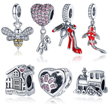 CodeMonkey 925 Sterling Silver Heart Charm Bear Beads Fit Original 3mm Bracelets DIY Pendant Jewelry Making C1054 - discount item  37% OFF Fine Jewelry