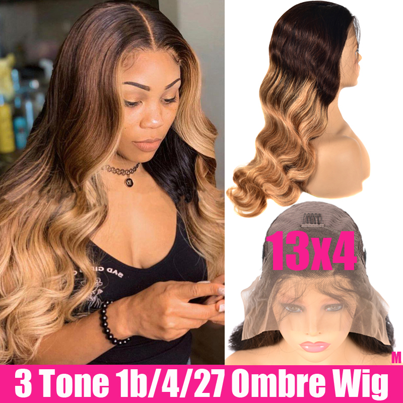 13x4 Body Wave Lace Front Wig Remy Brazilian Wigs With Honey Blonde Glueless Lace Front Ombre Human Hair Wigs For Black Women