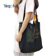 Yeqofcd Hollow Out Shoulder Crossbody Bags Mesh Market Shop Tote Canvas Handbag Womans Shopping Travel Net Beach Pouch