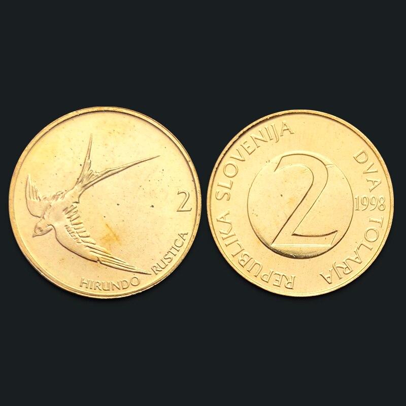 Slovenian 2 Toral Coin 100% Real Genuine Original Coin Comemorative Coin Collection Rare Unc