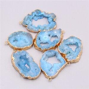 Natural blue druzy quartz crystal necklace pendant charm gem stones geode irregular stone pendant necklace bracelet earring diy(China)