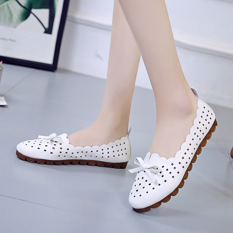 Woman Flats Shoes Women Casual Butterfly Knot Hollow Out Summer Shoes Female Pointed-toe Shoes Zapatos Mujer