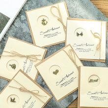 2pcs Vintage Badge Thankyou Cards with Hemp Rope Envelope European for Wedding Invitation Custom Business Gift Packaging