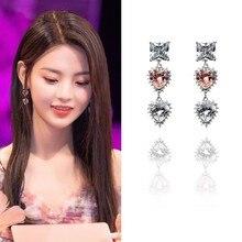 MENGJIQIAO-Pendientes colgantes de cristal rosa para Mujer y niña, Moda elegante, Color plateado, regalos de joyería para fiesta