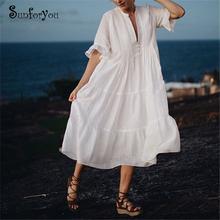 Biała bawełniana sukienka plażowa Sarong okrycie plażowe up odzież plażowa Vestido Playa osłona do Bikini up Ropa de Playa Mujer kaftan odzież plażowa tanie tanio sunforyou COTTON Stałe Młody styl Czeski Osób w wieku 18-35 lat Pasuje prawda na wymiar weź swój normalny rozmiar