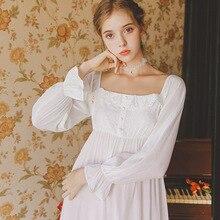 Nightgownsแขนยาวฤดูใบไม้ร่วงชุดนอนปักเหนียวชุดนอนผู้หญิงชุดนอนสตรีNightgown Aestheticism