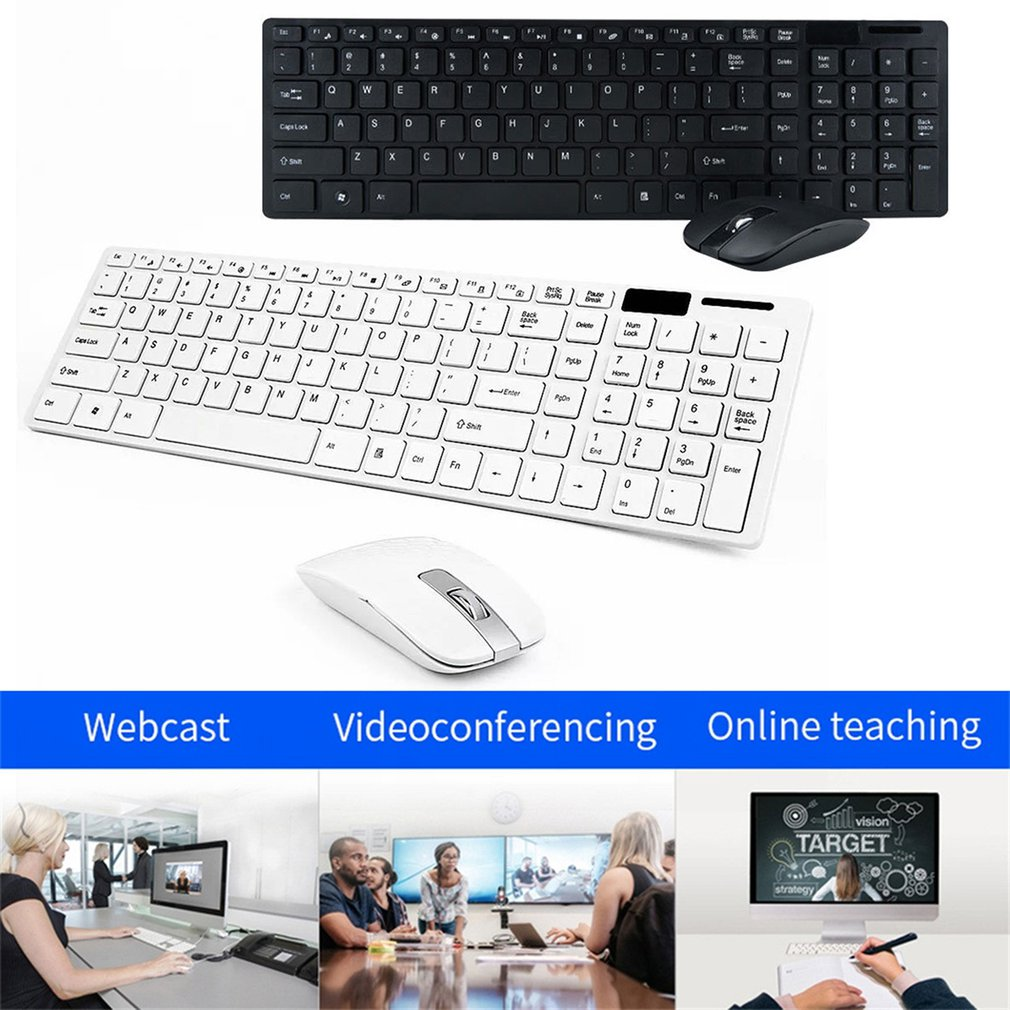 Wireless Keyboard And Mouse Mini Multimedia Keyboard Mouse Combo Set For Notebook Laptop Mac Desktop Office Supplies-3