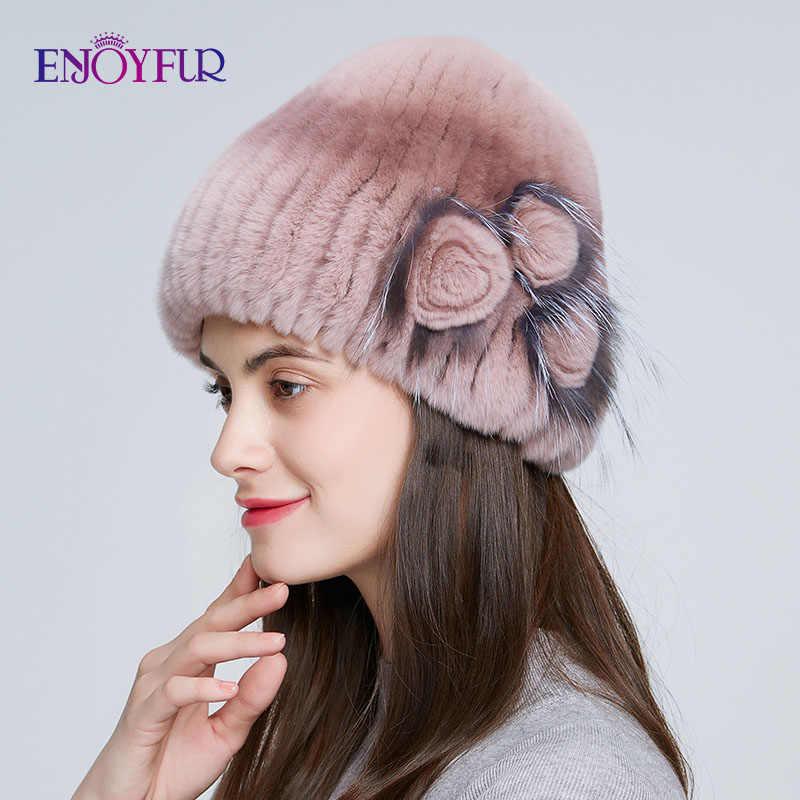 ENJOYFUR inverno mulheres chapéu de pele natural malha rex coelho pele de raposa de prata tampas de moda fur caps com floral da marca feminina venda chapéu