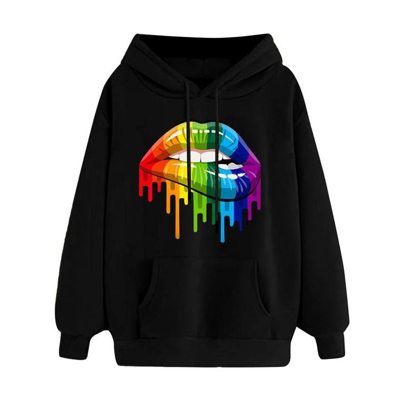 Casual Loose Lip Print Rainbow Women Hoodies 2019 Pullover Sweatshirt Autumn Winter Female Streetwear Vintage Hooded Tops