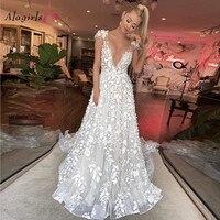 A Line Embroidery Wedding Dress 2020 Sexy Appliques V Neck Backless Bride Dress Ivory Bridal Gowns Plus Size vestido de noiva