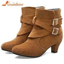 KARINLUNA New Arrival Autumn Big Size 33-43 Elegant Buckle Booties Ladies Flock Ankle Boots Women Med Heels Shoes Woman