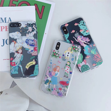 Mermaid Princess case soft for phone iphone 6s 6 8plus 7plus cute cartoon transparent TPU cover xr xs max 8 7 plus s