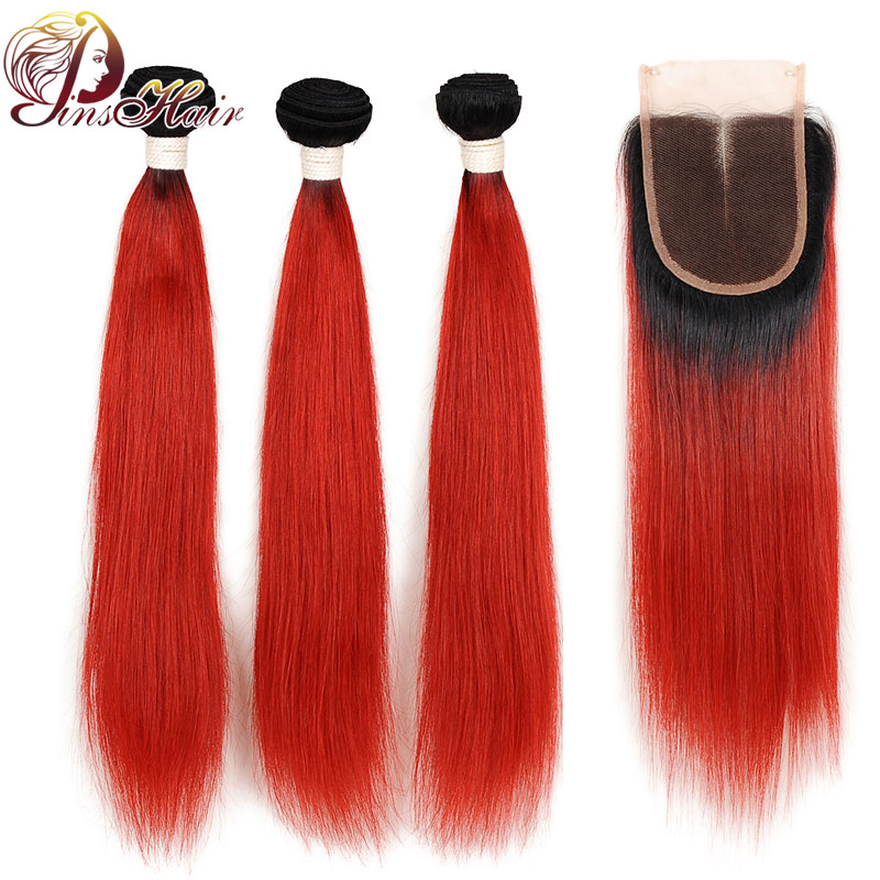 Ombre T1B/Red Brazilian Hair Bundles With Closure Straight Human Hair 3 Bundles With Closure Pinshair Non-Remy With Baby Hair