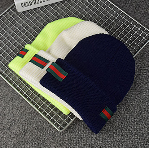 Beanie Hat Stripe Knitted Woolen Winter Autumn Warm Cotton Unisex Men Women Brand Couple Adult Casual Skull Cap For Dropshipping