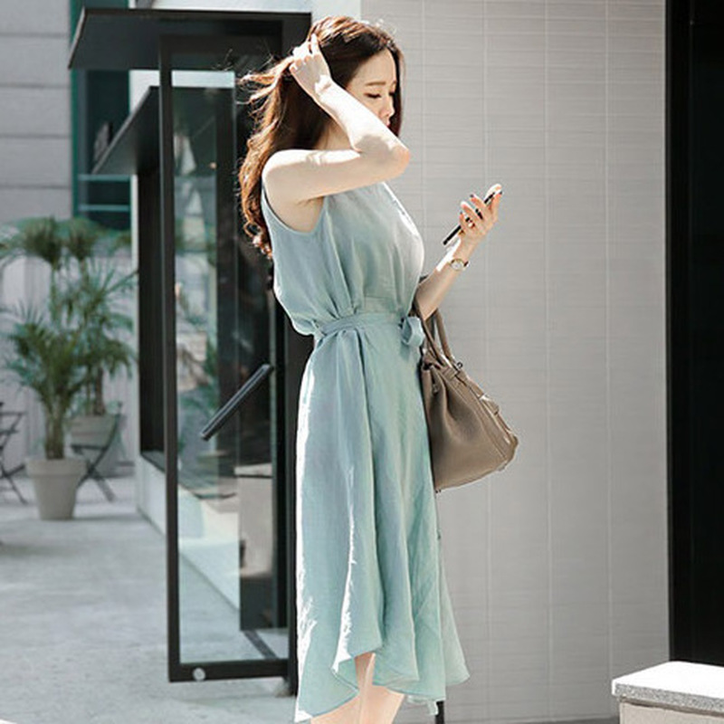 2019 Summer New Fresh Mint Green Cotton Linen Sleeveless Dress Irregular Dress in Dresses from Women 39 s Clothing
