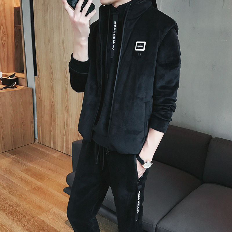 Winter Teenager Fashion Man Handsome Waistcoat Trousers Three-piece Set Fashion Students Double-sided Plush Hoodie Sports Set Me