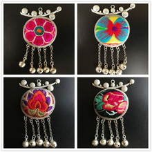 Unique Christmas Gift Miao Silver Retro Pendant Handmade Cloth Embroidery Round Necklace Pendant Best Gift