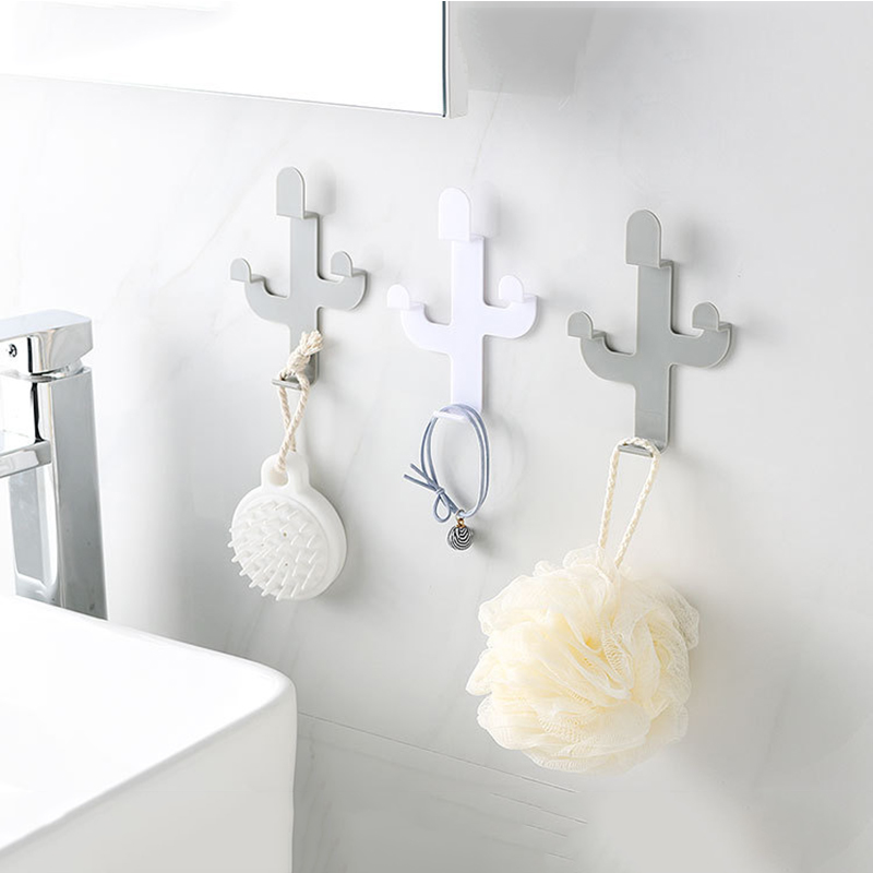 Creative Cactus Shaped Hook Seamless Adhesive Wall Door Hook Hanging Clothes Towel Bag Key Hanger Kitchen Bathroom Accessories
