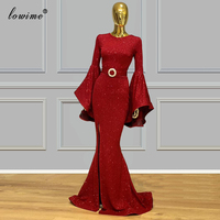 Middle East Red Sparkly Evening Dress 2020 Mermaid Formal Evening Gowns Muslim Red Carpet Special Occasion Gowns Party Vestidos