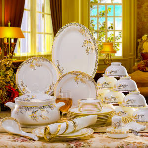 Plates Ceramic Dinnerware-Set Tableware Dishes Porcelaine Bone China 56PCS Combination