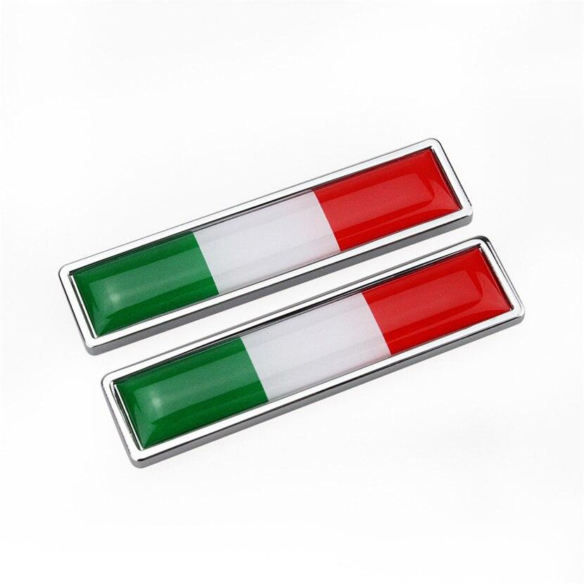 1 пара в итальянском стиле с флагом Италии 3D металлический автомобиль наклейки декорации эмблемы автомобиля аксессуары авто наклейки для ...