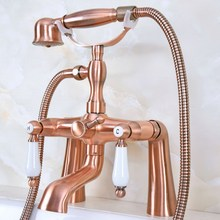цена на Deck Mounted Bath Tub Faucet Antique Red Copper Bathtub Faucets with Hand Shower Dual Handle Mixer Tap zna173