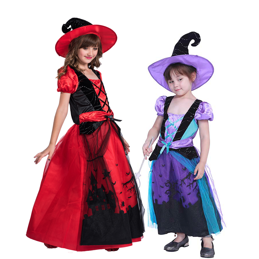 Snailify Red Cauldron Cutie Costume For Girls Halloween Costume For Kids Purple Witch Costume Fancy Dress And Hat Set Girls Costumes Aliexpress