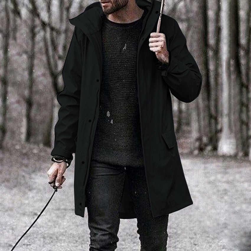 יוקרה Mens מעיל אופנה ארוך סתיו מעיל מזדמן להאריך ימים יותר מוצק מעיל גשם מעיל בגדי זכר מעיל רוח Abrigo Hombre 5XL