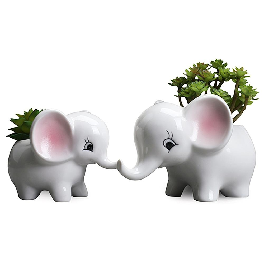 Flower Pot Elephant Cute White Ceramic Succulent Plant Pot Small Flower Plant Container Animal Home Office Decor